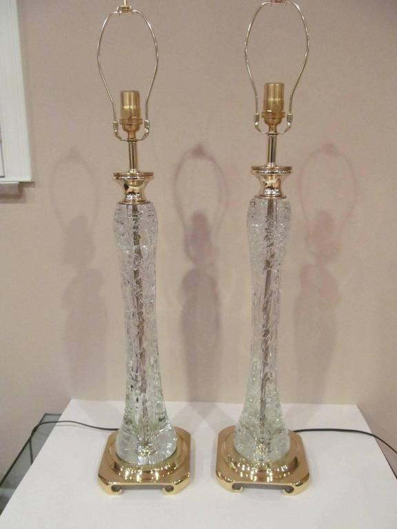 Late 20th Century Pair of Clear Rock Crystal Lamps  For Sale