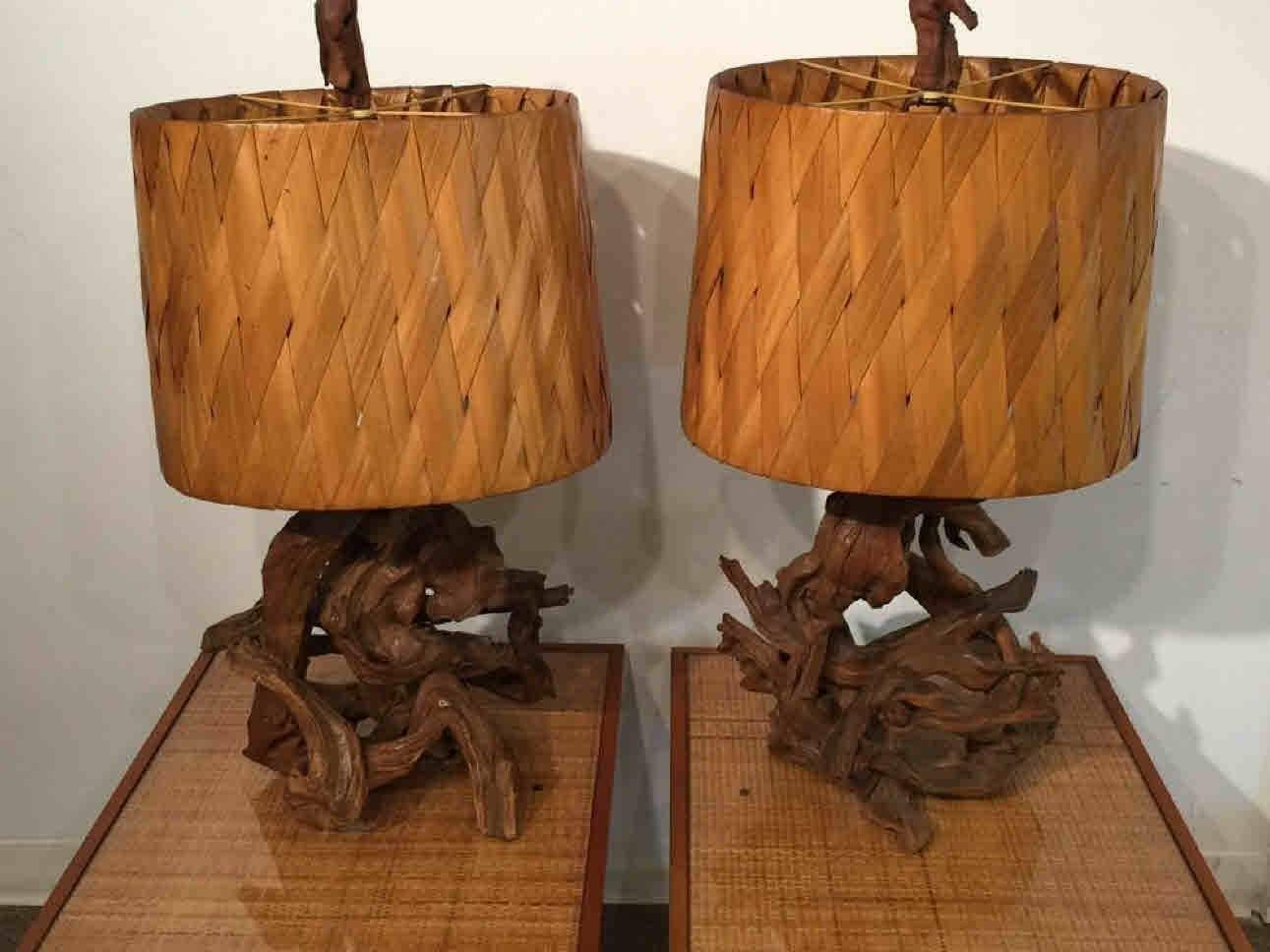 pair of mid century gnarled driftwood lamps for sale at 1stdibs. Black Bedroom Furniture Sets. Home Design Ideas