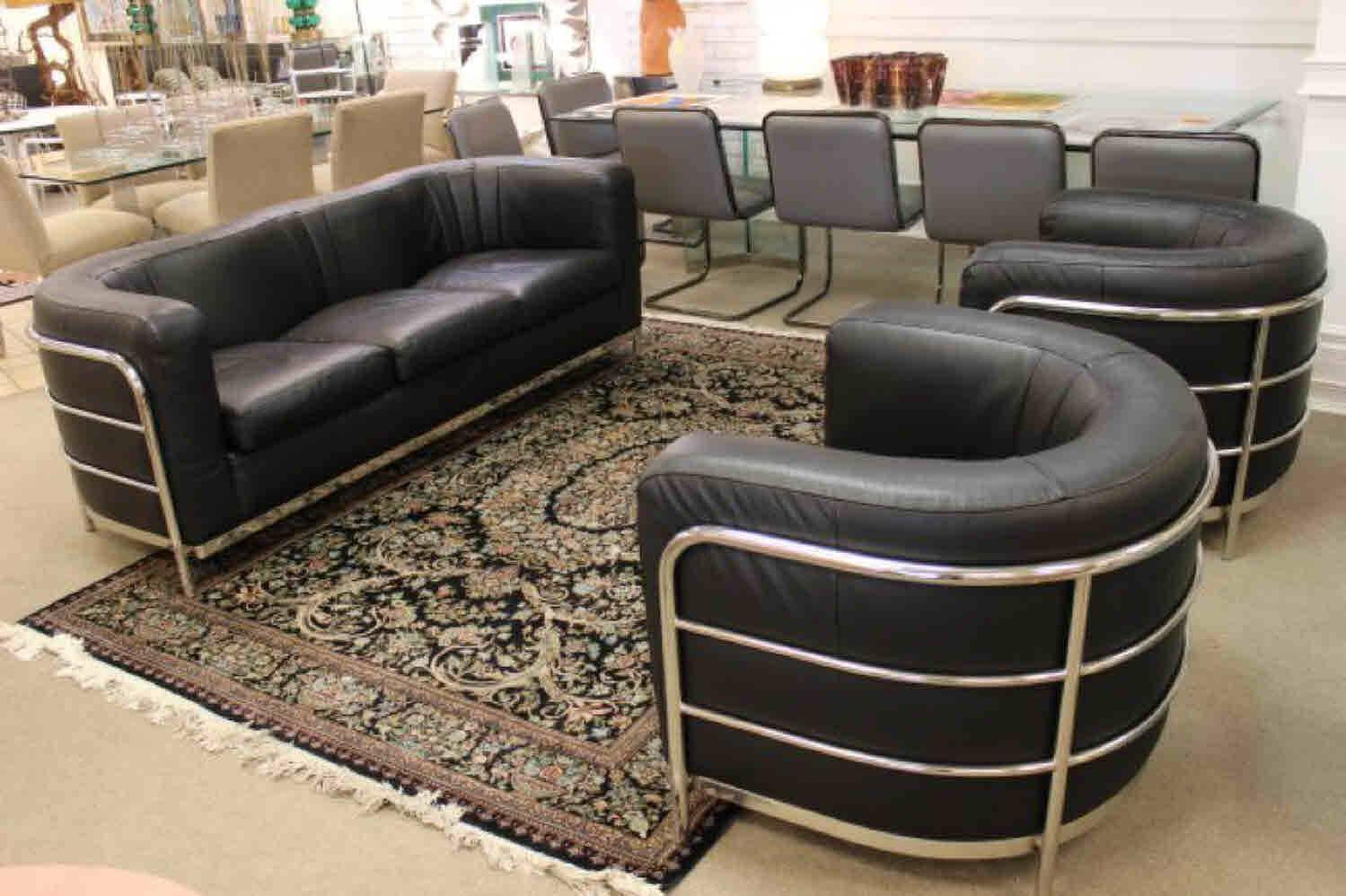 Zanotta 1980s Three Piece Living Room Suite Pair Of Chairs And Sofa At 1stdibs