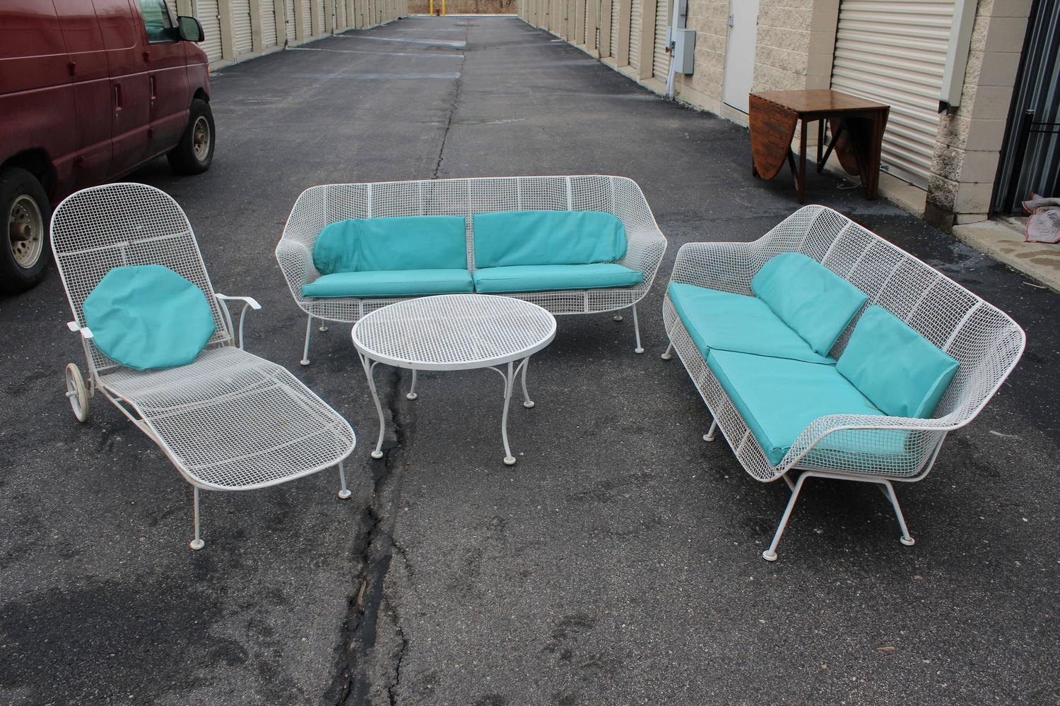 six piece set of sculpture patio furniture by woodard at