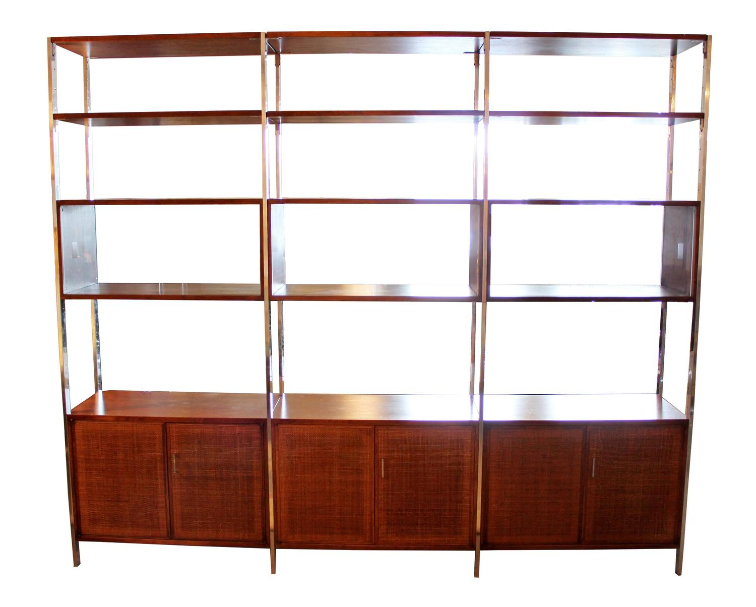 Founders credenza and shelving unit room divider walnut for Room divider storage