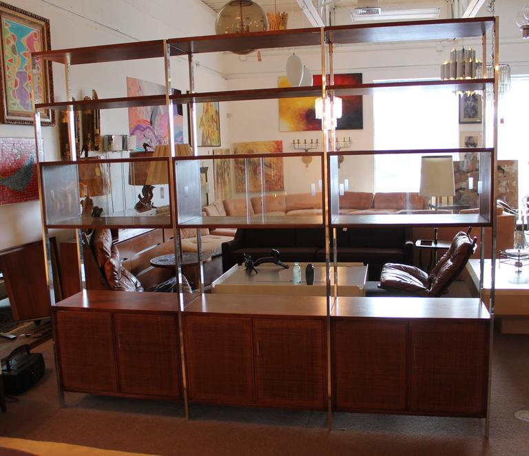 Founders Credenza and Shelving Unit Room Divider Walnut with Rattan