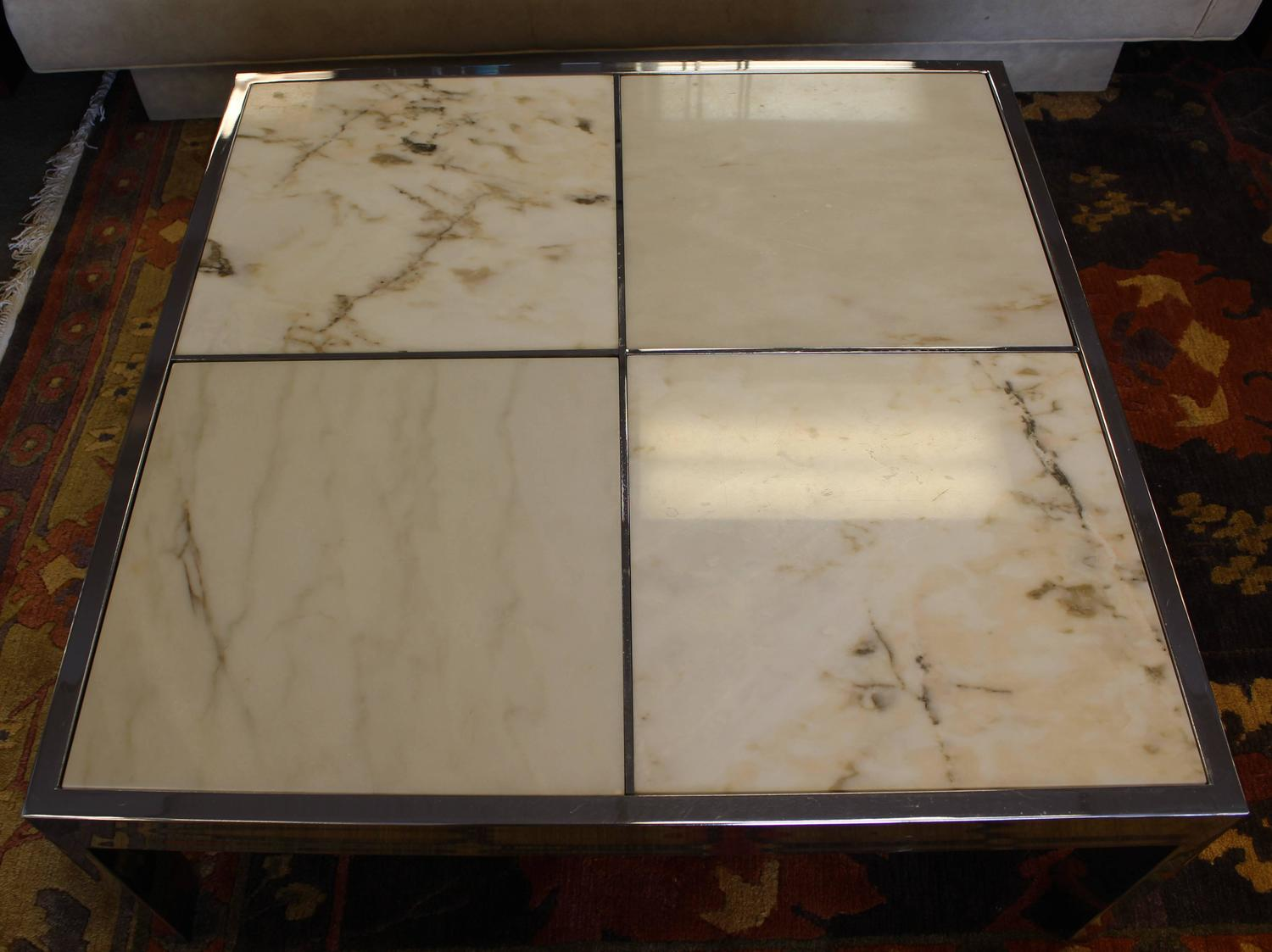 Pace Marble And Chrome Square Coffee Table For Sale At 1stdibs