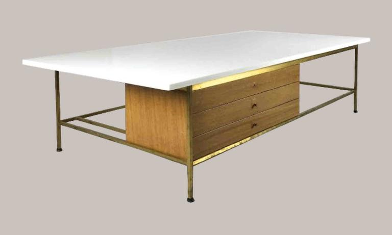 Paul McCobb For Calvin Vitrolite White Glass And Brass Coffee Table - Calvin coffee table