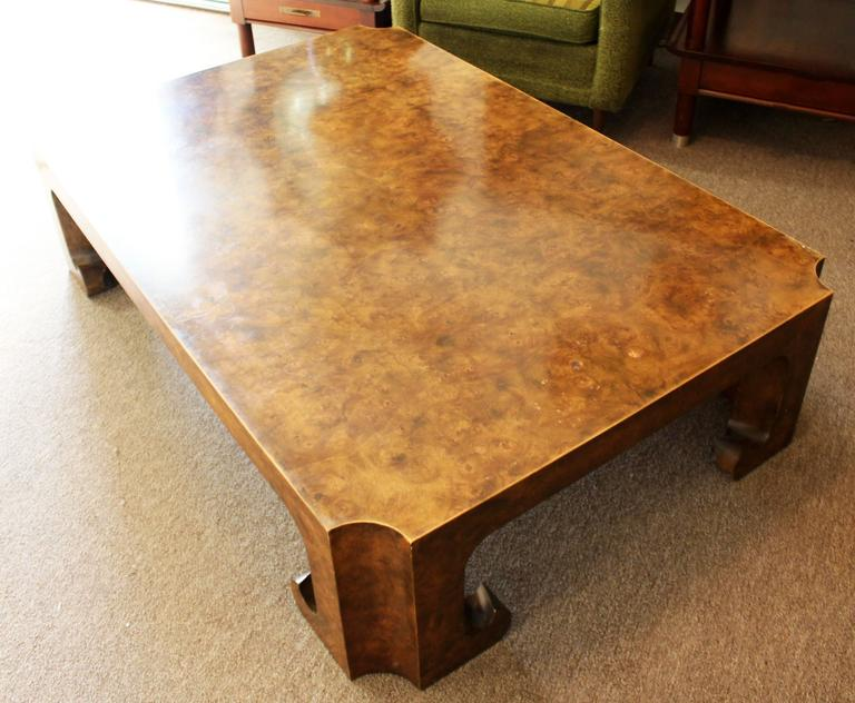 Mid Century Modern Baker Burl Wood Asian Coffee Table Collectors Edition For Sale