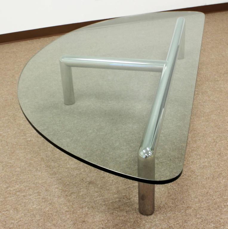 Tubular Chrome Coffee Table: Large Glass Tubular Chrome Coffee Table Attributed To Pace