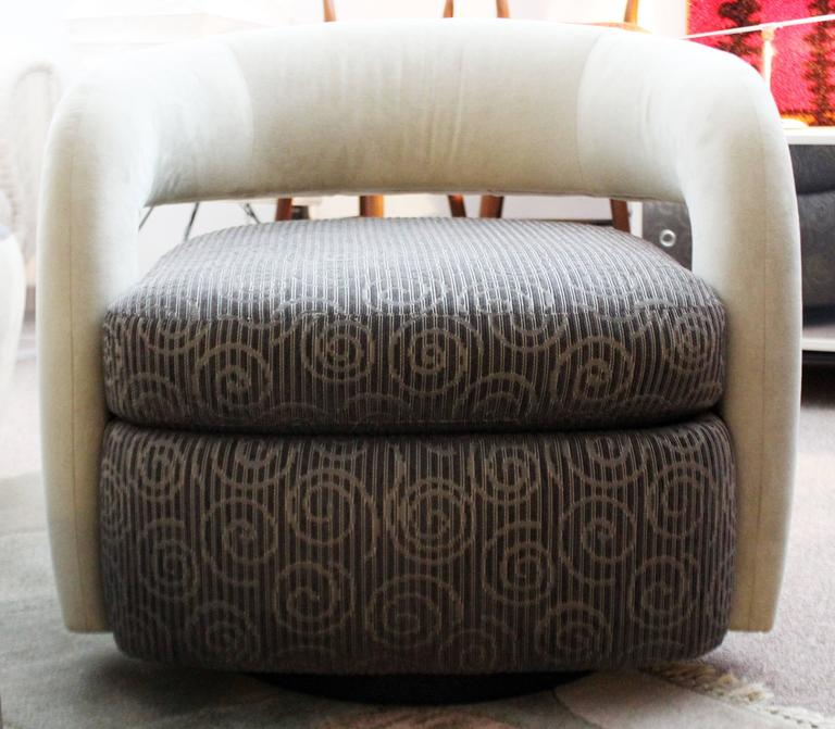 Stunning Pair Of Round Swivel Lounge Chairs, With A Unique Back, By Weiman.