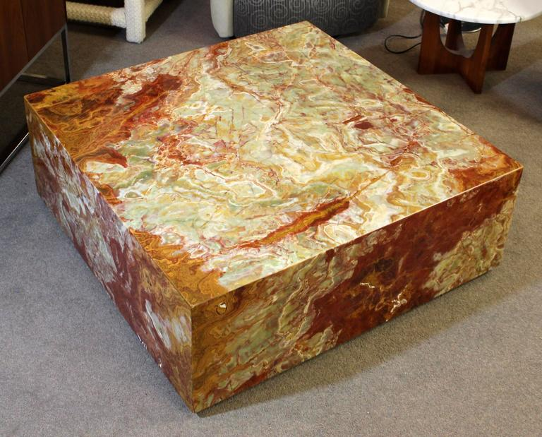 Large Custom Made Square Onyx Marble Coffee Table On