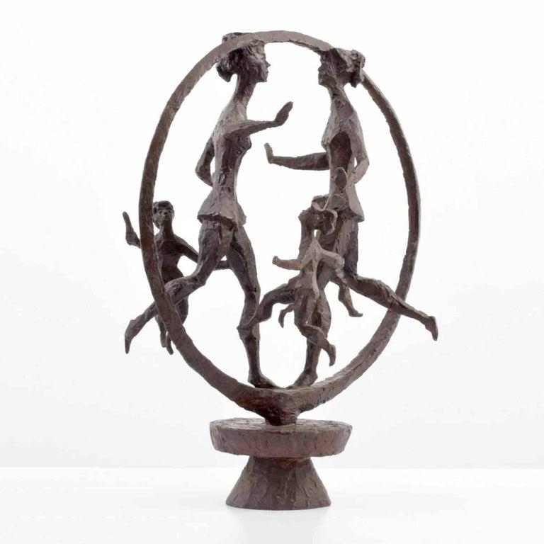 Mid-Century Modern Chaim Gross Monumental Bronze Sculpture Titled Happy Children, 1968 For Sale