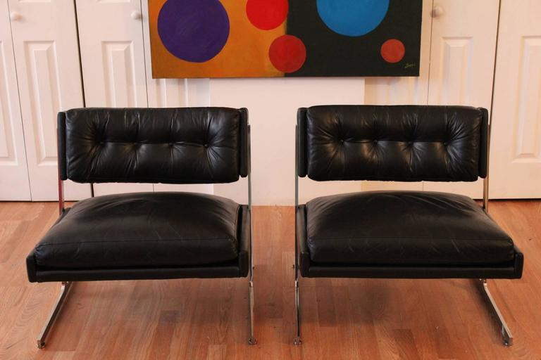 Mid-Century Modern Harvey Probber Chrome and Black Leather Down Filled Lounge Chairs For Sale