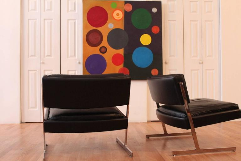 Harvey Probber Chrome and Black Leather Down Filled Lounge Chairs In Good Condition For Sale In Chicago, IL