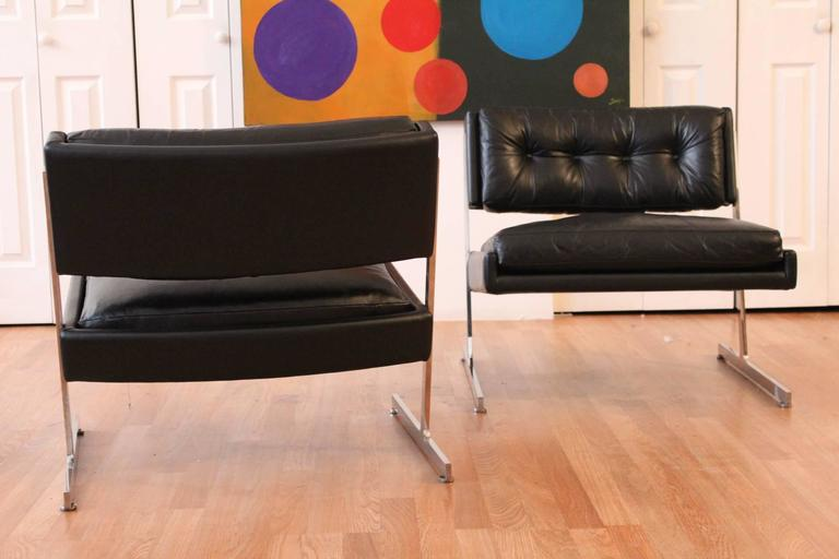 Other Harvey Probber Chrome and Black Leather Down Filled Lounge Chairs For Sale