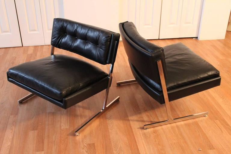 Mid-20th Century Harvey Probber Chrome and Black Leather Down Filled Lounge Chairs For Sale