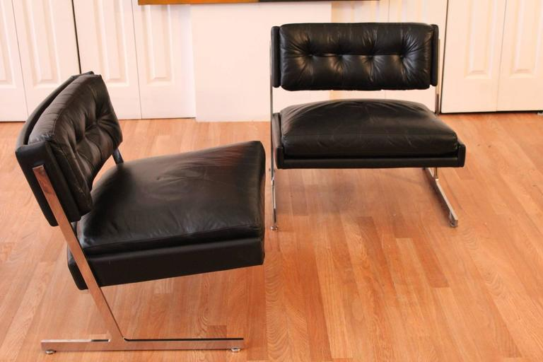 American Harvey Probber Chrome and Black Leather Down Filled Lounge Chairs For Sale