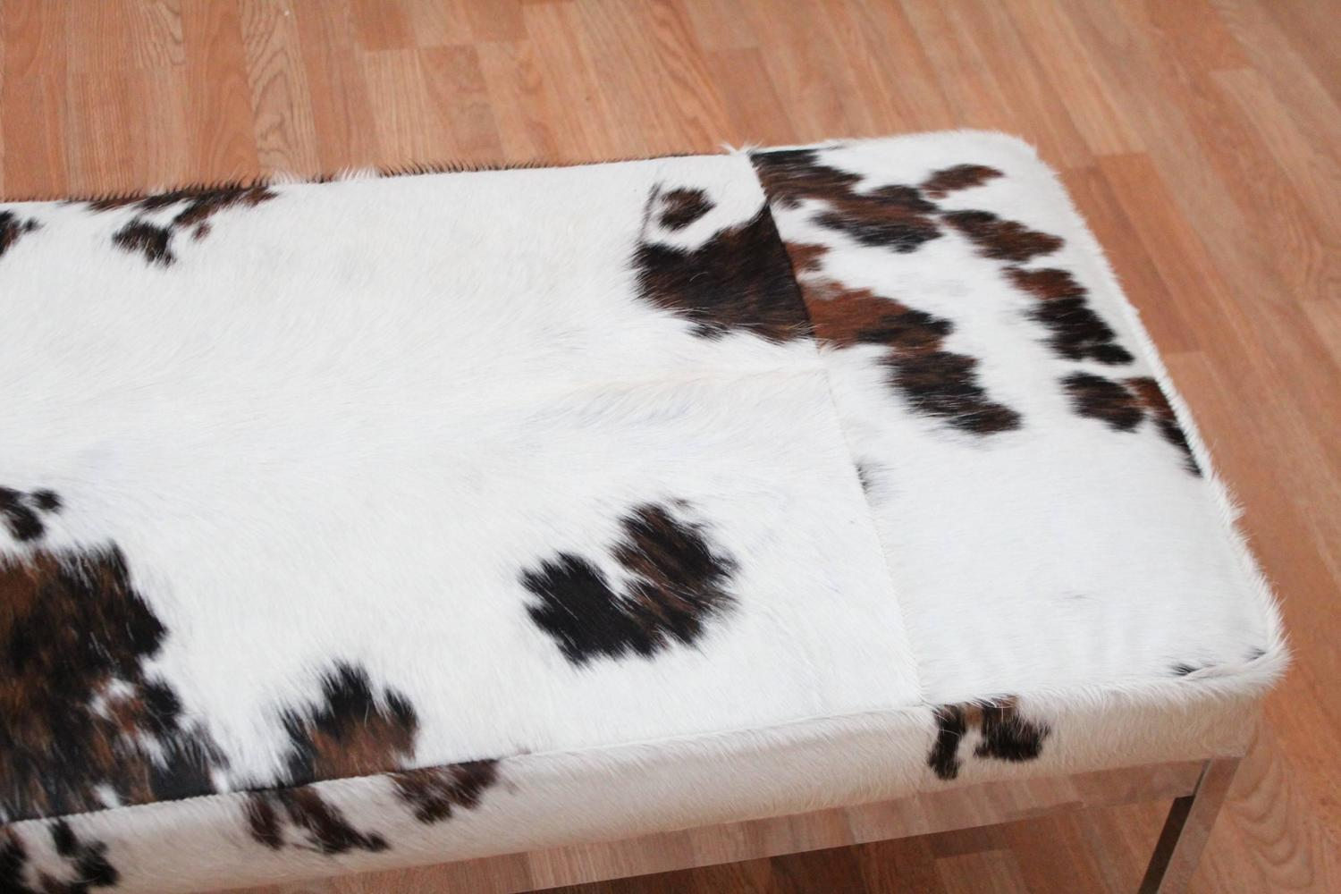 Chrome And Cowhide Covered Bench For Sale At 1stdibs