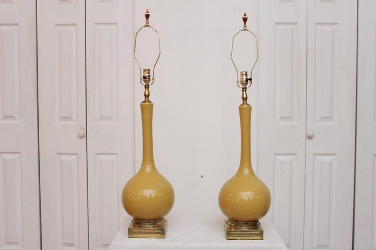 pair of mustard yellow lamps with green shades at 1stdibs. Black Bedroom Furniture Sets. Home Design Ideas