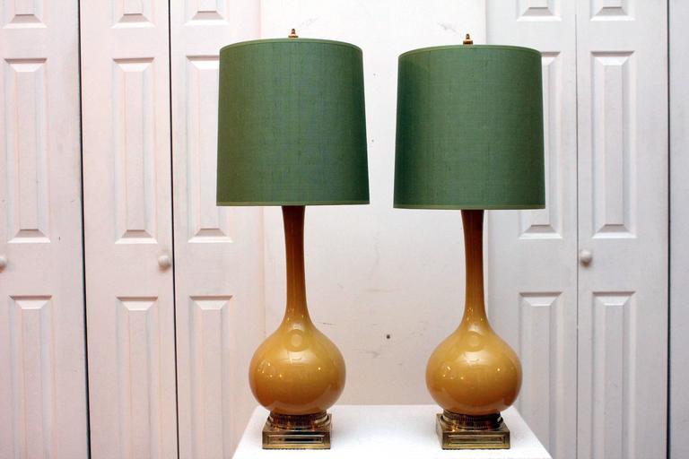 Pair Of Mustard Yellow Lamps With Green Shades At 1stdibs