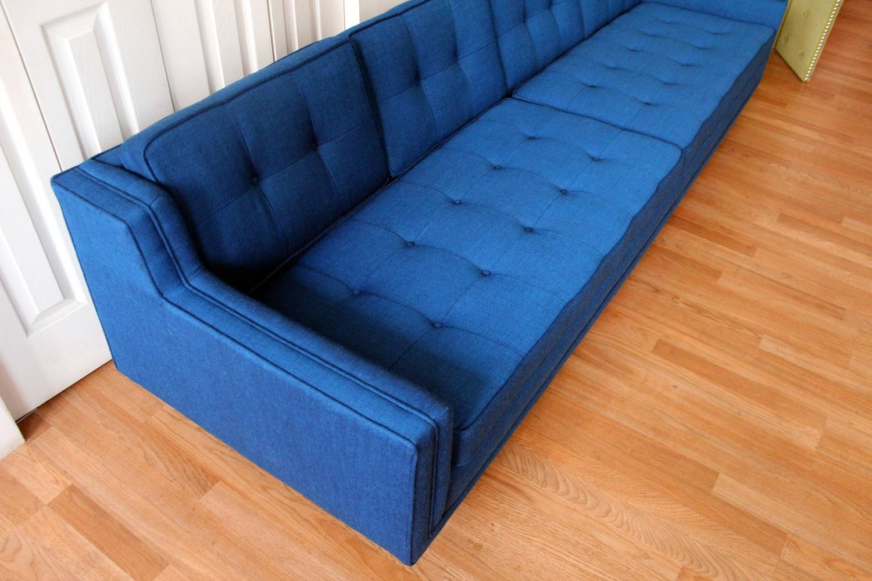 Modern Low Sofa : Blue Mid-Century Modern Low Slung Nemschoff Sofa at 1stdibs