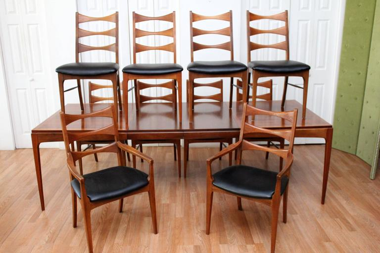 Lane walnut dining room table and ten chairs at 1stdibs for Dining room head chairs