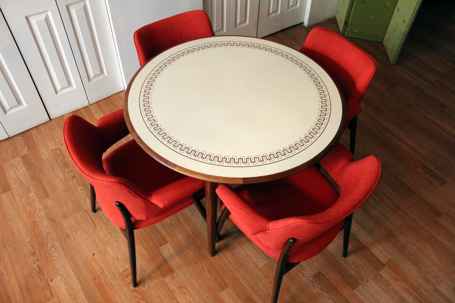 Orange Reupholstered Mid Century Modern Walnut Dining