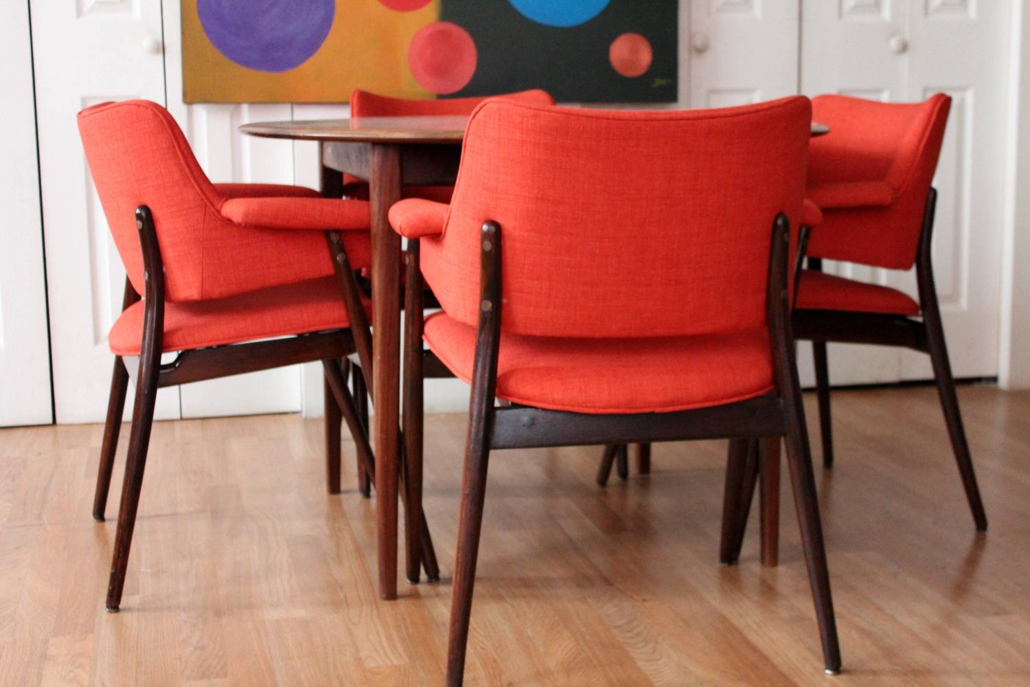 Orange reupholstered mid century modern walnut dining for Modern dining room chairs for sale
