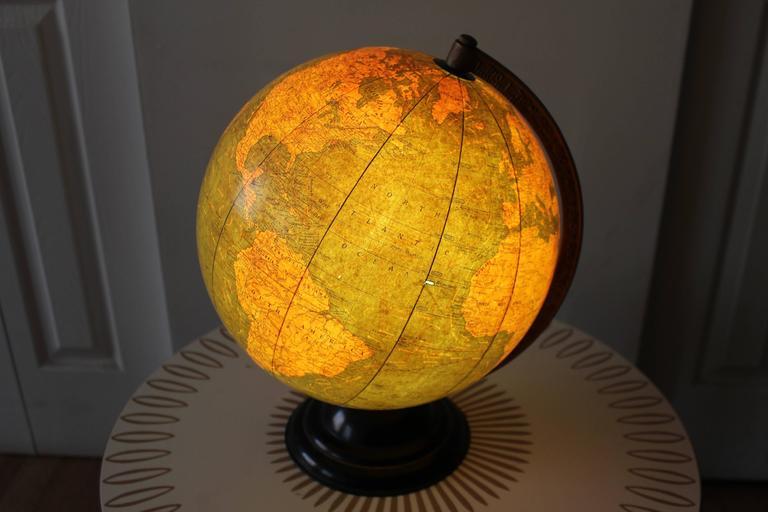Art Deco George F Cram Terrestrial Glass Illuminated Globe For Sale