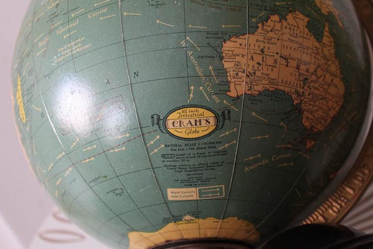 American George F Cram Terrestrial Glass Illuminated Globe For Sale