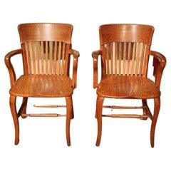 Set Identical Oak Office Chairs