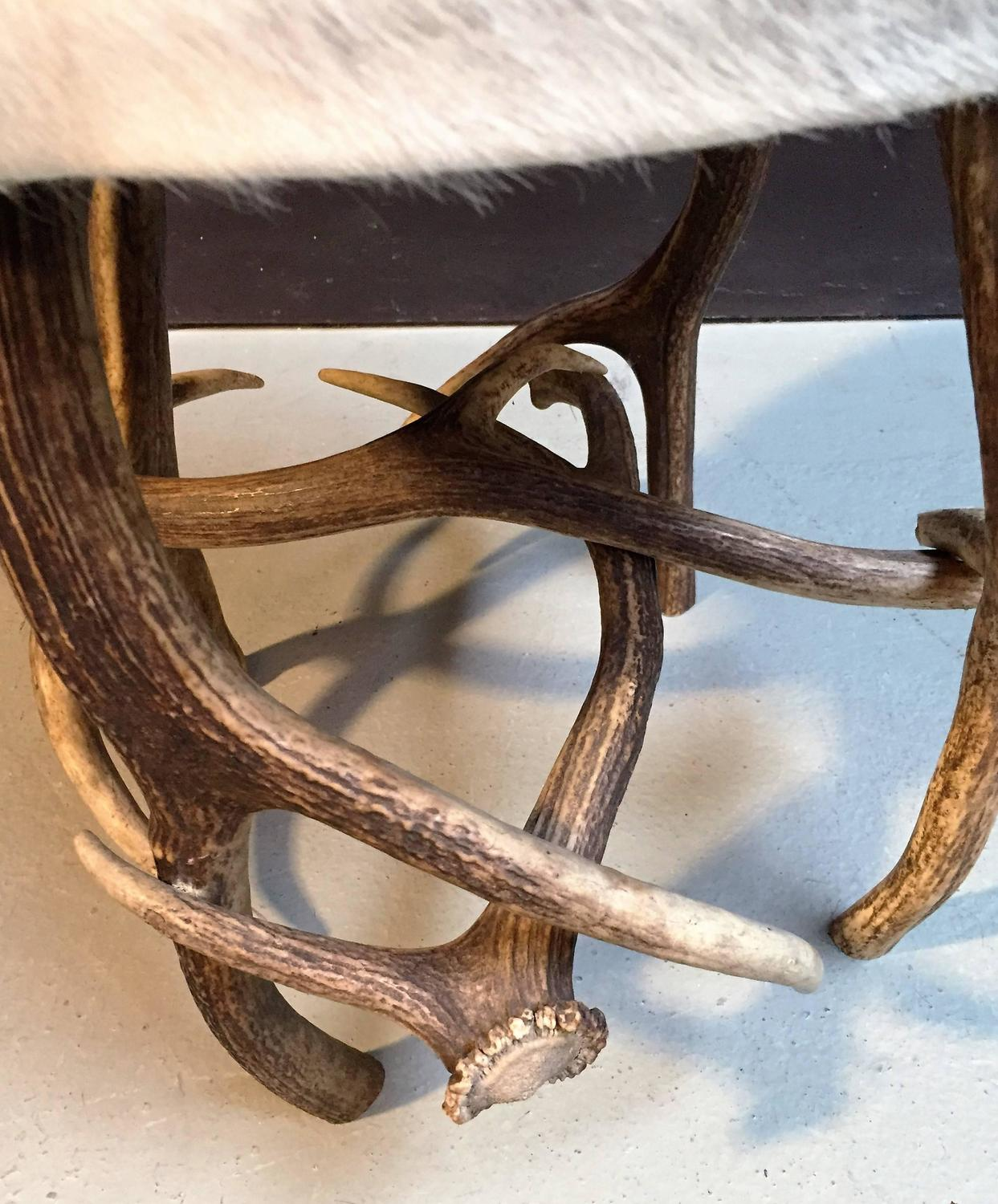 Antler Stool With Grey Cowhide For Sale At 1stdibs