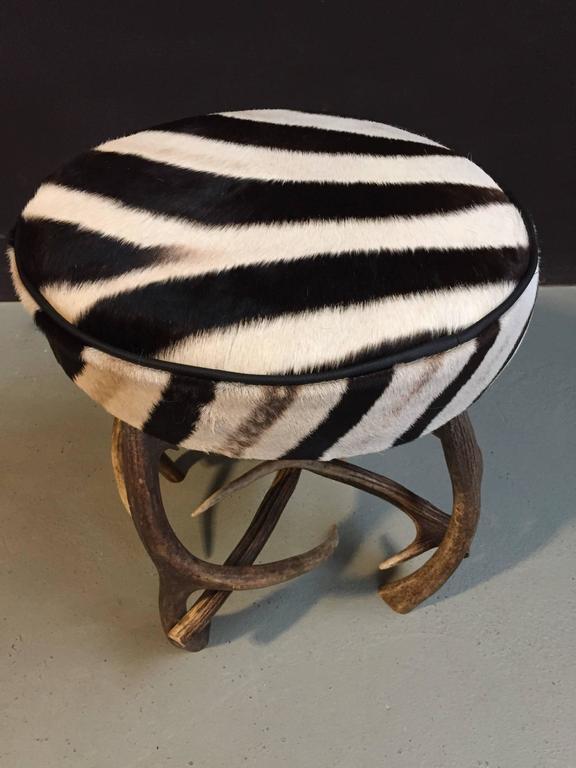 Antler Stool With Zebra Skin For Sale At 1stdibs