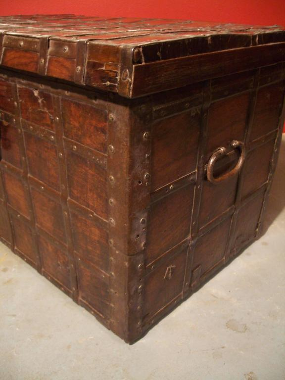 Iron 19th Century Anglo Indian Small Antique Chest For Sale