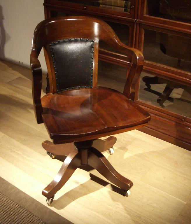 19th Century Mahogany Globe Wernicke Office Chair At 1stdibs