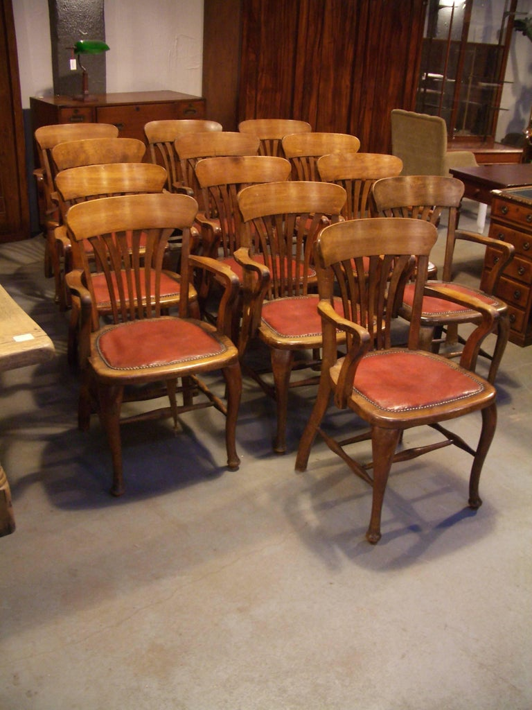 Edwardian Unique Set of 13 Mahogany Office Chairs For Sale