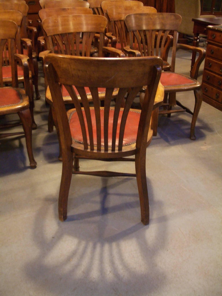 Unique Set of 13 Mahogany Office Chairs For Sale 1