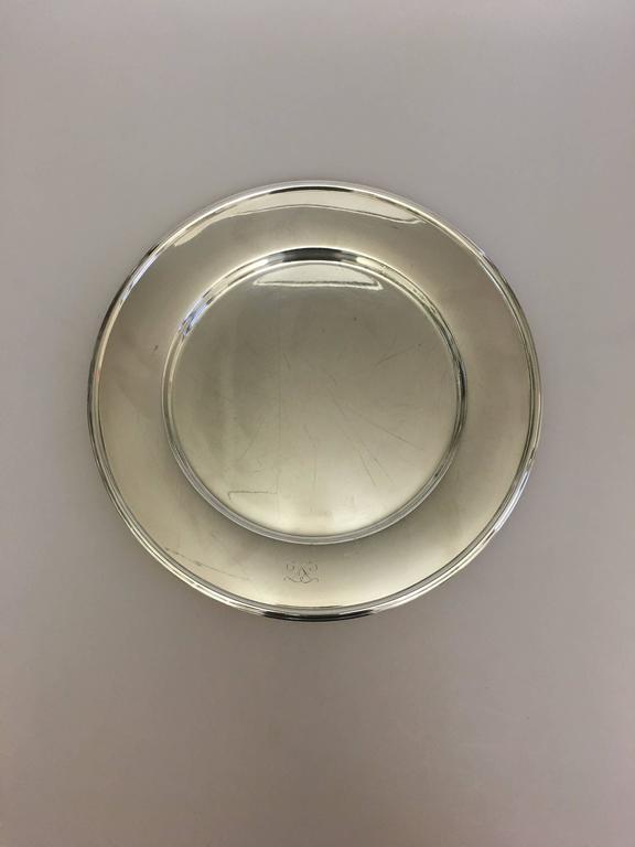 Hans Hansen Danish sterling silver large tray #461 by Karl Gustav Hansen.  Measures: 36 cm diameter.