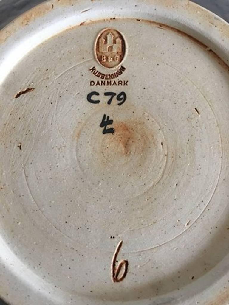 Danish Bing & Grondahl Unique Stoneware Bowl by Lotte Lindahl #C79 For Sale