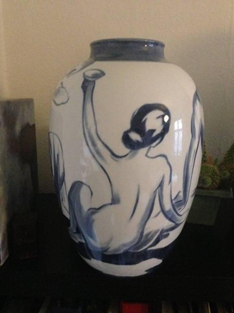 Hand-Painted Bing & Grondahl Art Nouveau Unique Vase For Sale