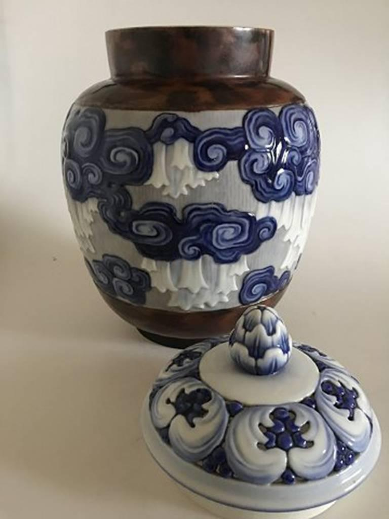 Large Bing And Grondahl Art Nouveau Unique Lidded Vase By