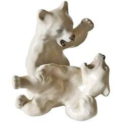 Royal Copenhagen Figurine Playing Polar Bear Cubs No 1107
