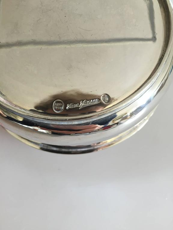 Art Deco Hans Hansen Sterling Silver Bowl with Ornamented Cover from 1933 For Sale