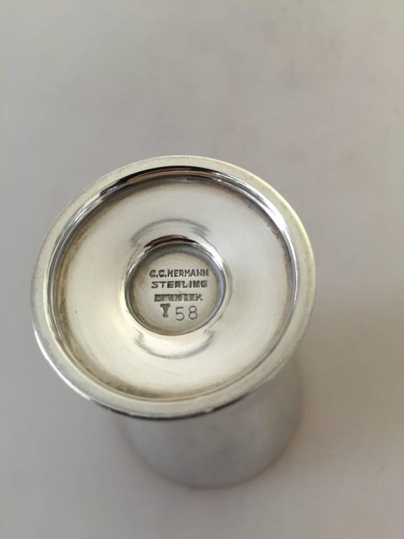 Mid-20th Century Danish C.C. Hermann Sterling Silver Liquor Glass For Sale