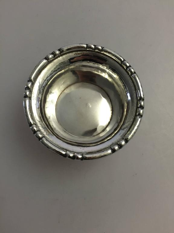 Georg Jensen sterling silver bowl on 4 feet from 1915-1919 #28.  Measures: 9.5 cm x 4.5 cm.