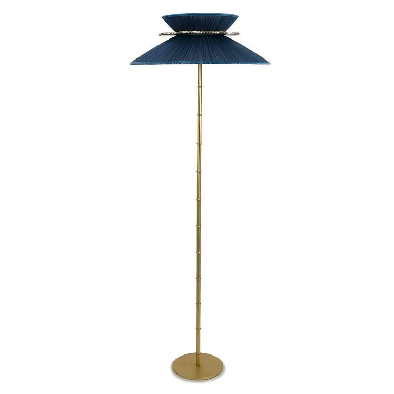 """Daisy"" Standing Lamp in Brass, sky Silk and silvered Glass clover Handmade"