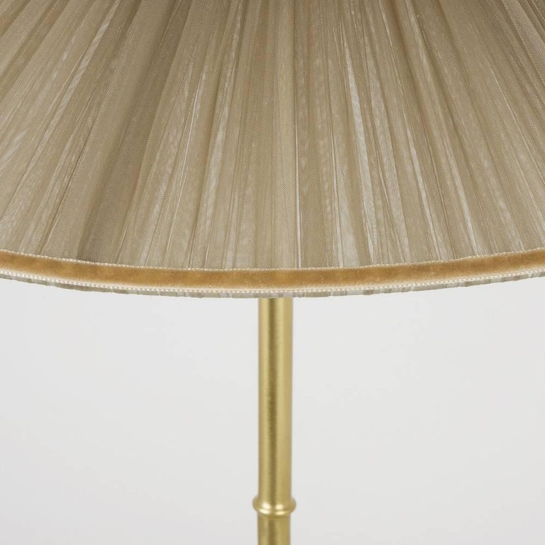 Contemporary Daisy Table Lamp in Brass, tobacco Silk and silvered nacklace Glass Handmade    For Sale