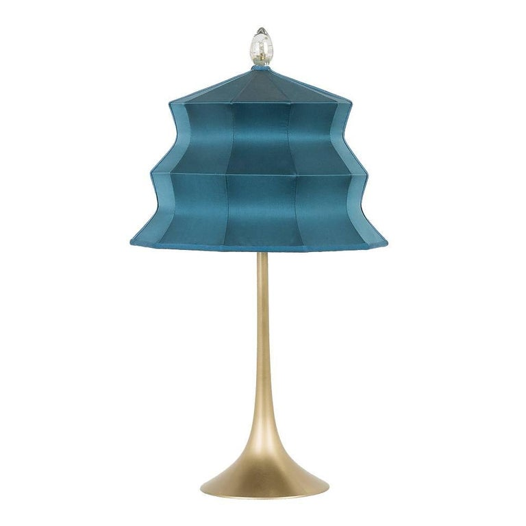"""Pagoda"" contemporary Table Lamp, sky silk, Silvered Crystal Tip, brass     For Sale"