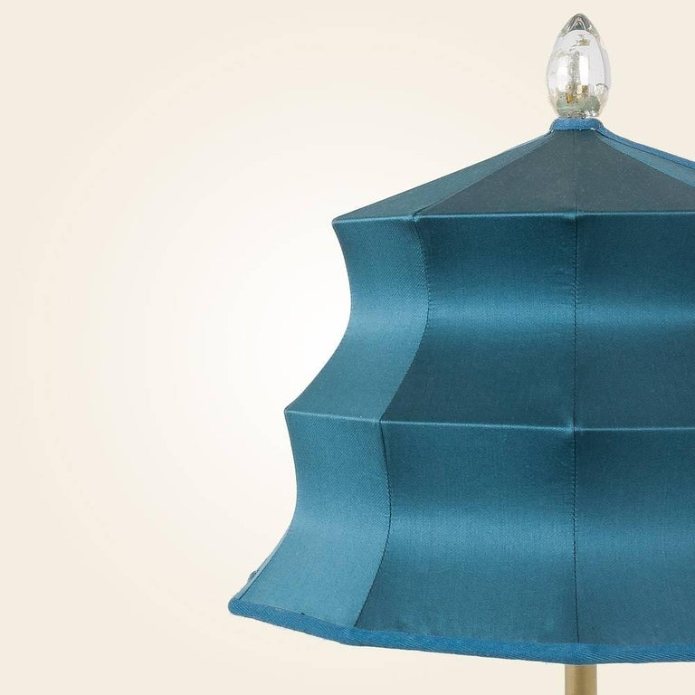 "Italian ""Pagoda"" contemporary Table Lamp, sky silk, Silvered Crystal Tip, brass     For Sale"