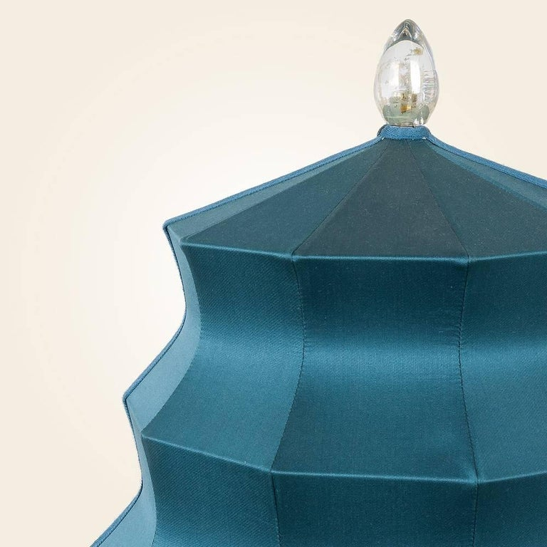 """Pagoda"" contemporary Table Lamp, sky silk, Silvered Crystal Tip, brass     In New Condition For Sale In Pietrasanta, IT"