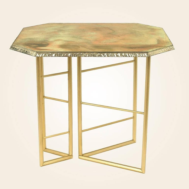 Fly unique piece console in brass and silvered glass - Fly table console ...