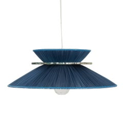 Daisy Hanging Lamp in Blue Silk and Silvered Four-Leaf Glass  available now