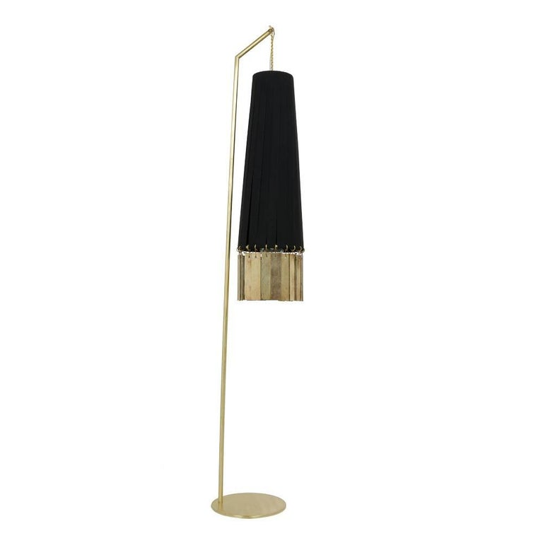 Magic Standing Lamp Brass Black Strips, Double Face of Silvered Glass Sheets